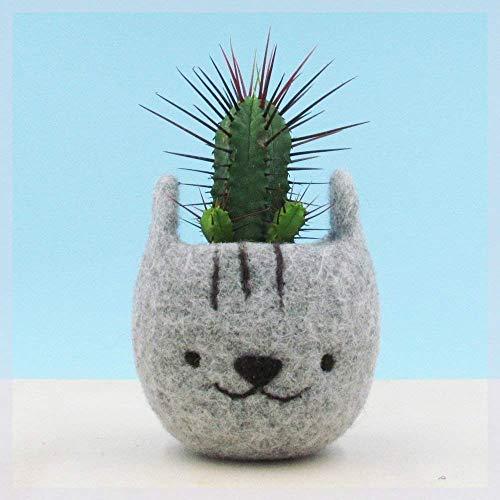 Cute plant pot/gift for her/Felt succulent planter/Neko Atsume special edition/Grey cat vase/Cat head planter/Kawaii kitty gift