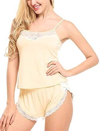 Conjunto de Pijama de Tirante Mujer Algodón Encaje 2 Piezas Camisa y Pantalones Top Suave Ropa de Dormir Verano Interior