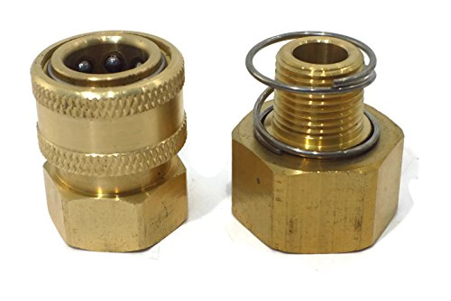 Brass Pressure Washer Garden Hose Adapter w Spring Filter Quick Connect Coupler