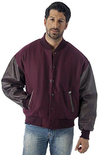 REED Men's Premium Varsity Leather/Wool Jacket Made in USA (2XL, Burgundy)