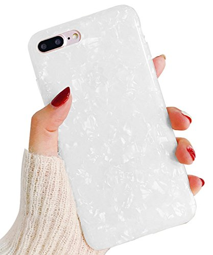 J.west iPhone 8 Plus Case/iPhone 7 Plus Case, Cute Ultra Thin [Tinfoil Series] Macaron Color Bling Lightweight Soft TPU Case Cover for iPhone 7 Plus / 8 Plus (White) ()