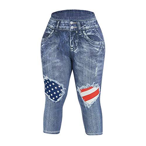Yoga Pants for Women,Casual American Flag Printed Skinny Capri Plus Size - Flags Translucent