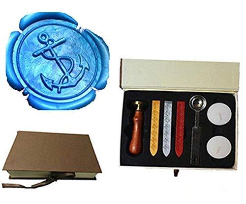 Vintage Fancy Anchors Custom Picture Logo Wedding Invitation Wax Seal Sealing Stamp Rosewood Handle Sticks Melting Spoon gift Box Set Kit