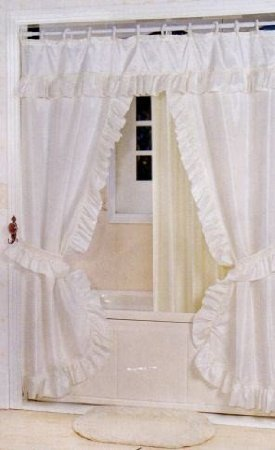 Better Home DOUBLE SWAG SHOWER CURTAIN, LINER & RINGS, White AX-AY-ABHI-18269
