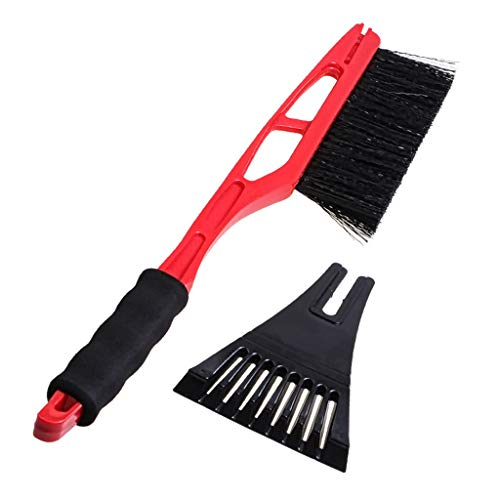 (Jonerytime2-in-1 Ice Scraper with Brush for Car Windshield Snow Remove Frost Broom Cleaner (Red))