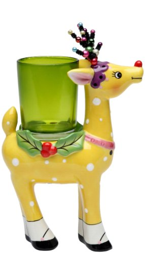 Appletree Design 62013 Deer with Glass Votive Holder, 4-3/8 by 5-3/4 by 2-3/8-Inch, Yellow