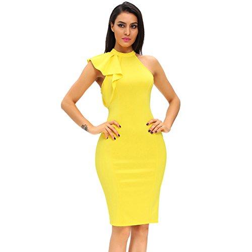 Shopall Women's Fashion Ruffle Sleeve One Shoulder High Neck Midi Bodycon Party Dress Yellow Plus Size