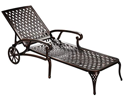 HOMEEFUN Chaise Lounge Outdoor Chair, Aluminum Pool Side Sun Lounges with Wheels Adjustable Reclining, Patio Furniture Set, Pack of 1(Antique Bronze) ()