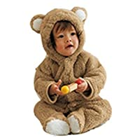 Luckyauction Baby Toddler Winter Cute Bear Fleece Romper Coffee