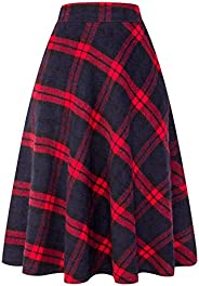 Wrodduy Women's Long Plaid Skirt Autumn Winter Warm Swing Skirt Thicken Elastic Waist Plaid A-Line Pleated