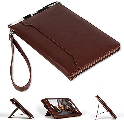 iPad Mini Genuine Leather Case, Spessn Multi Function Luxurious Slim Folio Flip Stand Cover with Hand Strap Grip Magnetic Closure[Card Slot Wallet Case] for Apple iPad Mini 4/3/2/1,Brown