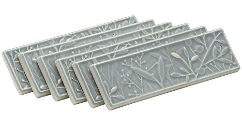 KOHLER K-45921-DF-K7 Gilded Meadow Decorative Tile with Platinum Accents (Pack of 6), Translucent Blue
