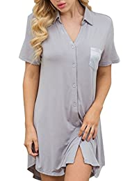 672541a9a8 Pajamas Soft Striped Women s Short Sleeve Button Sleepwear Shorts Shirt PJ  Set(S-XXL