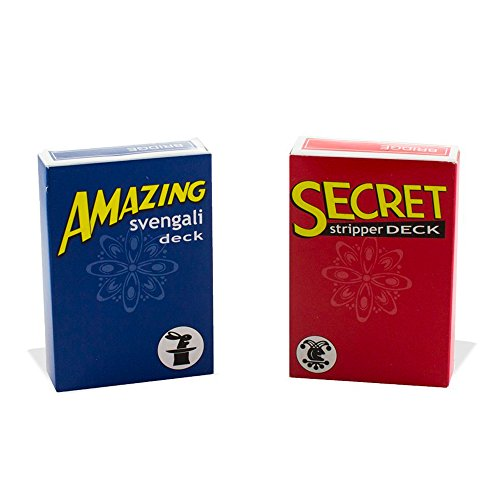 Magic Makers Amazing Svengali and Secret Stripper Deck Kit, Hundreds of Possible Tricks From Beginner to Expert in This Set (Blue Svengali and Red Stripper)
