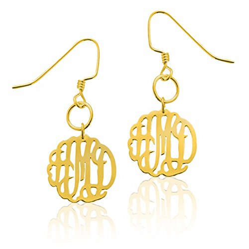 Earrings Monogrammed Round - Personalized Gold Plated Silver Round Monogrammed Drop Dangle Earrings - Choose 3 Letters