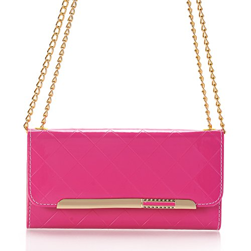 TechCode Galaxy S8 Case Wallet, Women Stylish Candy Colour PU Leather Flip Lady Multi Envelope Wristlet Handbag Clutch Wallet Case Stand with Card Slots for Samsung Galaxy S8 5.8'' (Rose Pink) by TechCode