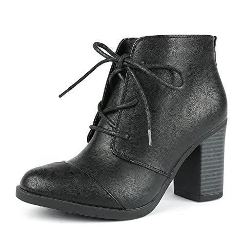 TOETOS Women's Chicago-05 Black Pu Leather Chunky Heel Ankle Boots Size 5 M US for $<!--$26.99-->