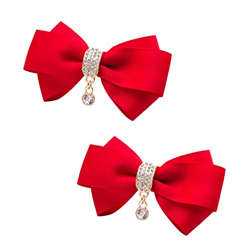 ZAKIA Women' Ribbon Bow Crystal Pendant Removable Shoe Clips Clutch Wedding Decoration Pack of 2 (Red) ()
