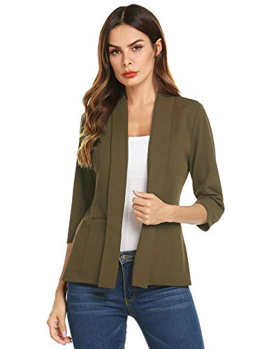 Jersey Long Sleeve Blazer - Dealwell Bussiness Jacket for Office Ladies Long Sleeve Open Front Casual Blazers Cardigan Dark Army Green X-Large