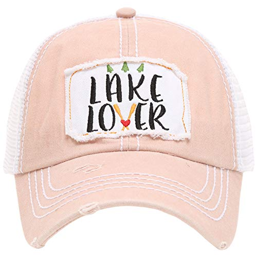 (MIRMARU Women's Baseball Caps Distressed Vintage Patch Washed Cotton Low Profile Embroidered Mesh Snapback Trucker Hat (Lake Lover, Dustypink))