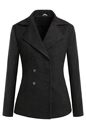 Meaneor Women's Look Double Breasted Classic Winter Pea Coat Dark Gray XXL