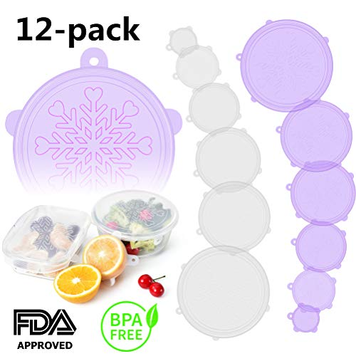Silicone Stretch and Seal Lids, Bpa-Free Silicone Seal Lids and Bowl Elastic Reusable Covers for Coffee Mug, Jar, Can and More Kitchen Container - 12 Pack of Clear White and Purple 【Snowflake】 Lid