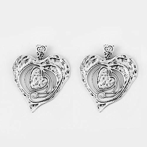 FidgetFidget Hammered Heart Charms Pendants Necklace Making Large Antique Silver Open 2 Pieces