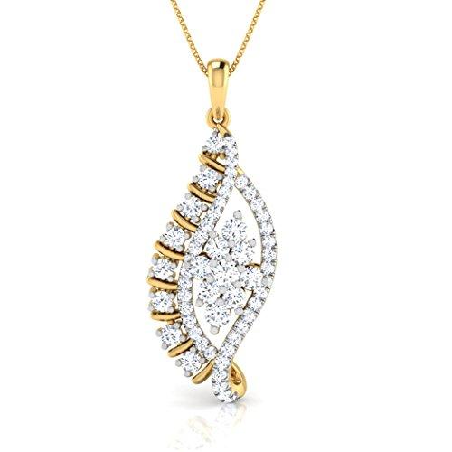 18K Or Blanc 0,69ct tw Round-cut-diamond (IJ   SI) Pendentif