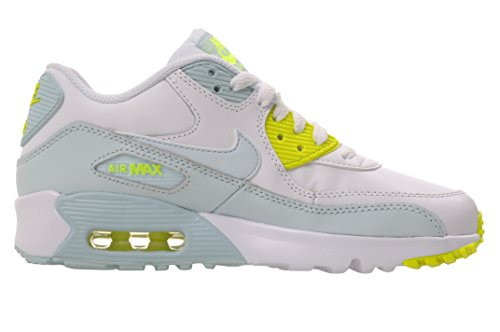 Nike Kids Air Max 90 LTR GS, blanco / azul glaciar - Volt, tama?o juvenil 4
