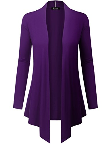 - Because I Love You Women's Open Front Drape Hem Lightweight Cardigan - Small - Eggplant