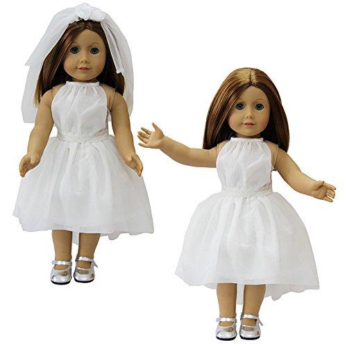 ZITA ELEMENT Doll Clothes Doll Clothes -Princess White Wedding Dress+Veil Fits American 18