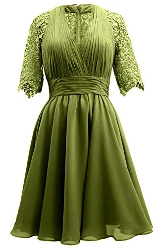 Evening Dress MACloth Lace Women Mother Sleeve Party Short of Green Wedding Bride Gown Olive TYPrTq