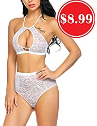eca7ad23db13f Women High Waisted Lingerie Set Lace Bralette Set Sexy Bra Panty Set