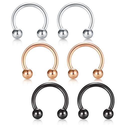 D.Bella 14G Surgical Steel Horseshoe Nose Septum Rings Earring Eyebrow Tongue Lip Nipple Helix Tragus Piercing Rings Hoop 14mm