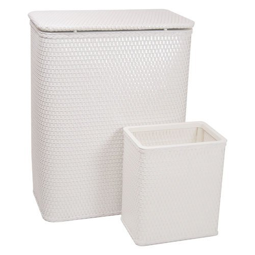 Redmon 4262WH Chelsea Collection Hamper with Matching Square Wastebasket, White
