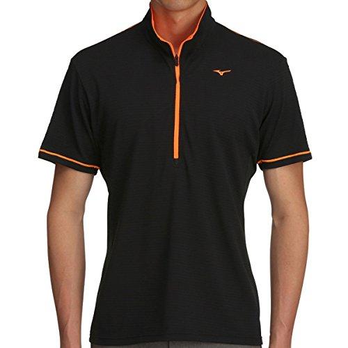 ミズノ MIZUNO 半袖シャツ?ポロシャツ ソーラーカット ジップアップ半袖シャツ 52MA7006 ブラック 09 L
