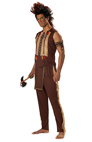 [Mememall Fashion Native American Indian Noble Warrior Chief Men Costume] (Wicked Jester Deluxe Adult Mens Costumes)