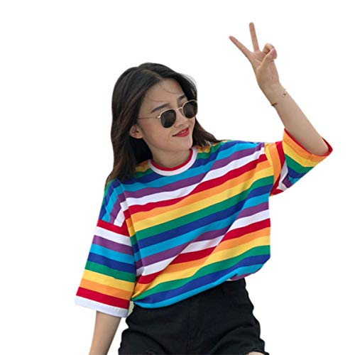 New T Shirt Women Rainbow Striped Tops Harajuku Tshirt Summer Short Sleeve Korean Punk T-Shirt Camiseta Feminina T8 (Multi,XXL) ()