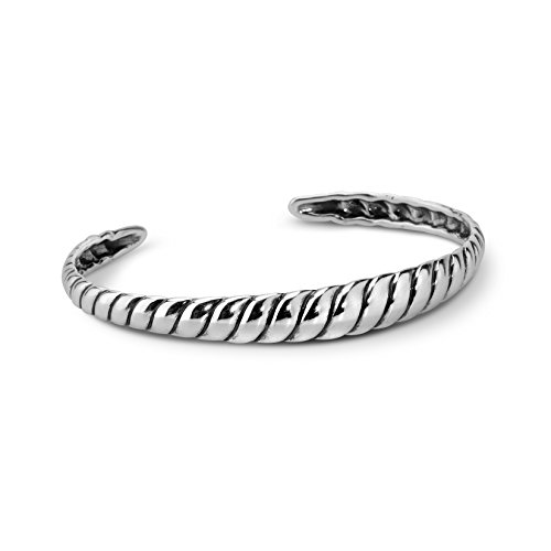 (Carolyn Pollack Jewelry - Genuine Sterling Silver Ribbed Cuff Bracelet - Large- Possibilities Collection)