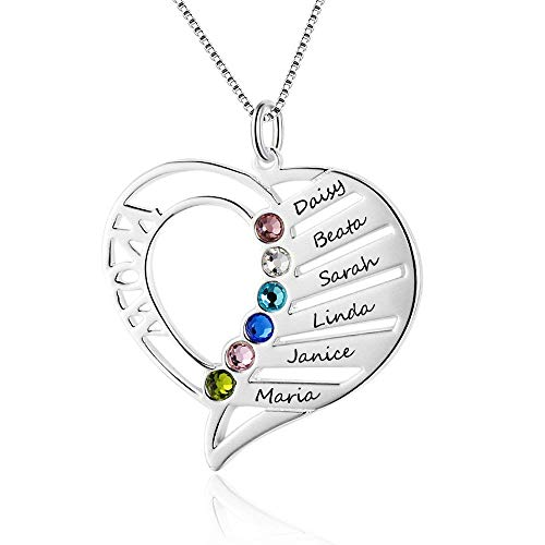 Lam Hub Fong Personalized Mothers Name Heart Necklace 6 Simulated Birthstones Mother Child Necklace for Wife Mother