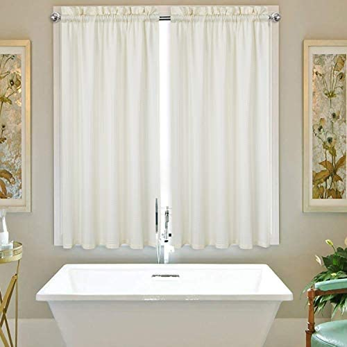 IDEALHOUSE Ivory Tier Curtains,Waffle Woven Textured Short Window Curtain for Cafe,Bathroom,Kitchen Kids Bedroom Rod Pocket Curtains 2 Panels, 30Inch Wide by 45Inch Long
