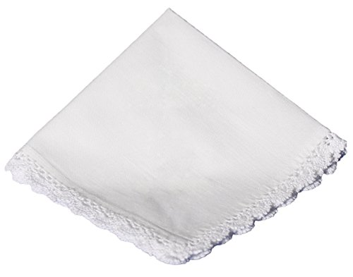 (Cotton Christening Hankie Handkerchief Heirloom with Crochet Lace)