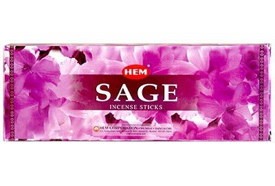 Sage - Box of Six 20 Stick Hex Tubes - HEM Incense Hand Rolled In India (Incense Smudge)