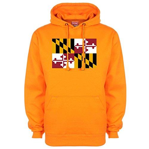 Maryland American State Flag Hoodie - Orange - Large (42-44 inches) ()
