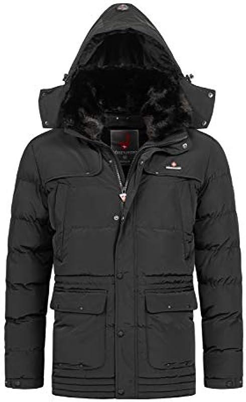 Achalm męska kurtka zimowa pikowana kurtka zimowa z podszewką parka ze sztucznego futra: Odzież