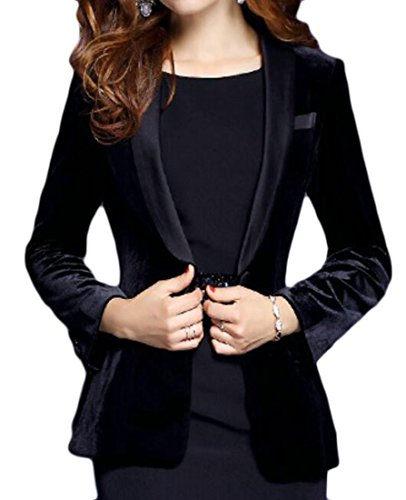 Alion Women Velvet Solid Color OL Classic Suit Blazer Black L by Alion