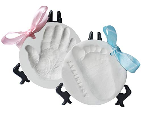 MyMiniJoy Baby Ornament Keepsake Kit (Super Bundle, 4 Ribbons, 2 Easels, Letter Set) Unique Handprint and Footprint Clay Casting Kit - Baby Shower Gift Ideas for Boys and Girls - Personalized Registry]()