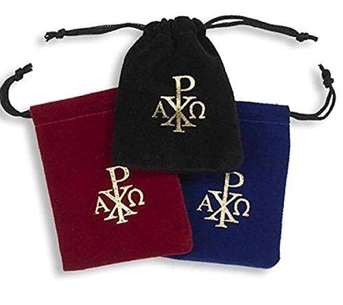 Velvet Drawstring Rosary Bag with Chi Rho Cross Design, Assorted Colors, Set of 3