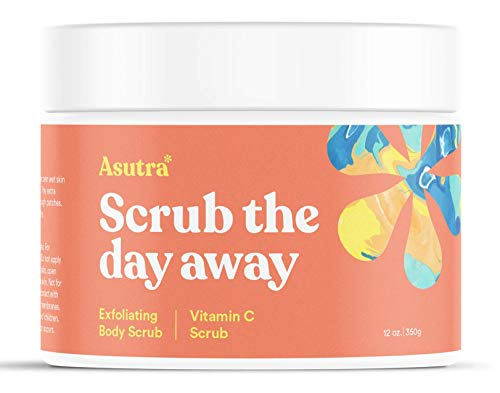 ASUTRA Himalayan Sea Salt Body Scrub Exfoliator (Vitamin C), 12 oz | Ultra Hydrating, Gentle, Moisturizing | All Natural & Organic Jojoba, Sweet Almond, Argan Oils