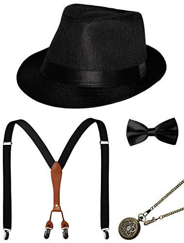 1920s Mens Accessories Gatsby Gangster Costume Accessories Set Manhattan Fedora Hat Suspenders Bow Tie Pocket Watch -